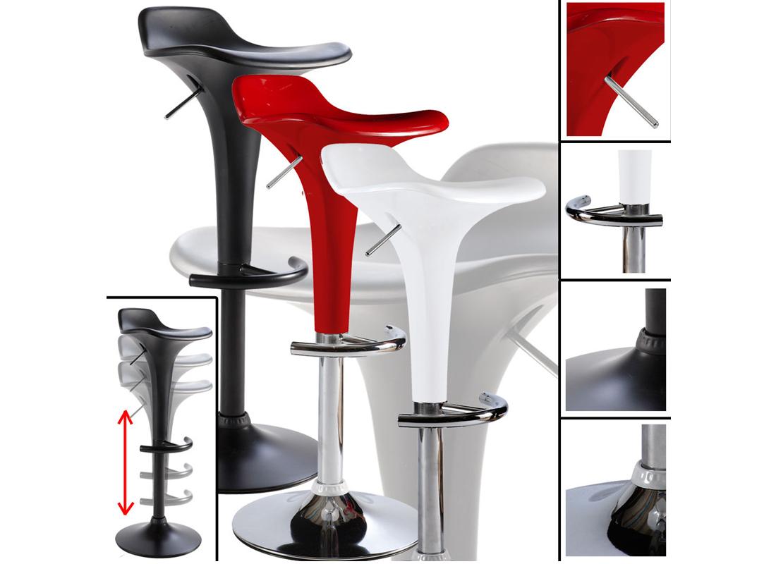 barhocker weiss schwarz matt rot chrom hydraulik. Black Bedroom Furniture Sets. Home Design Ideas