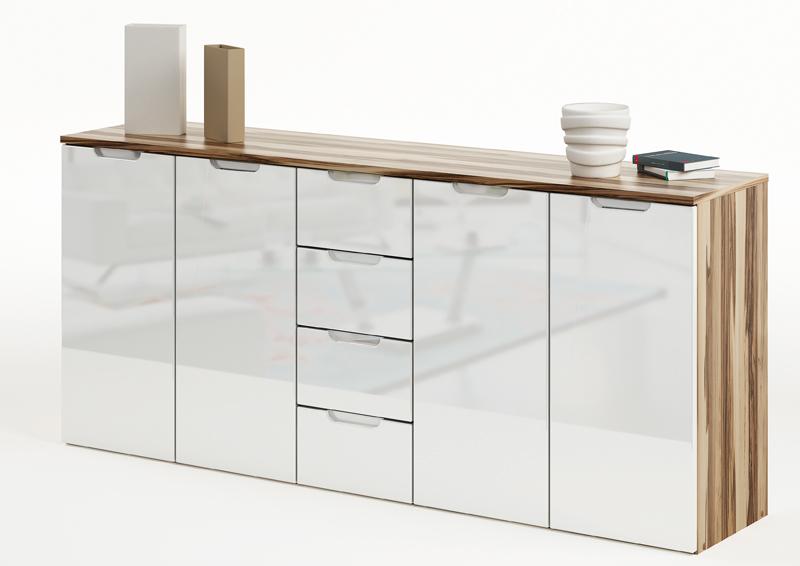sideboard clio 408 hochglanz wei baltimore walnu 179x79x39cm schrank kommode ebay. Black Bedroom Furniture Sets. Home Design Ideas