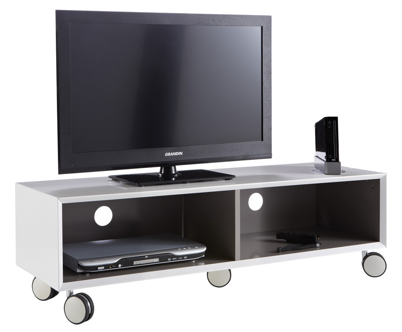 tv bank in out auf rollen 120x36x40cm wei tv tisch. Black Bedroom Furniture Sets. Home Design Ideas
