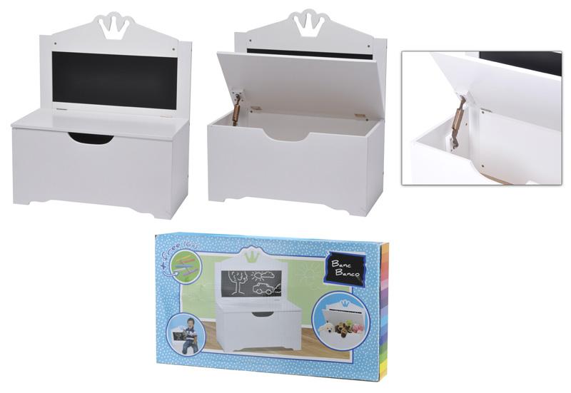 bemalbare kinderbank wei aufbewahrung stuhl bank truhe. Black Bedroom Furniture Sets. Home Design Ideas