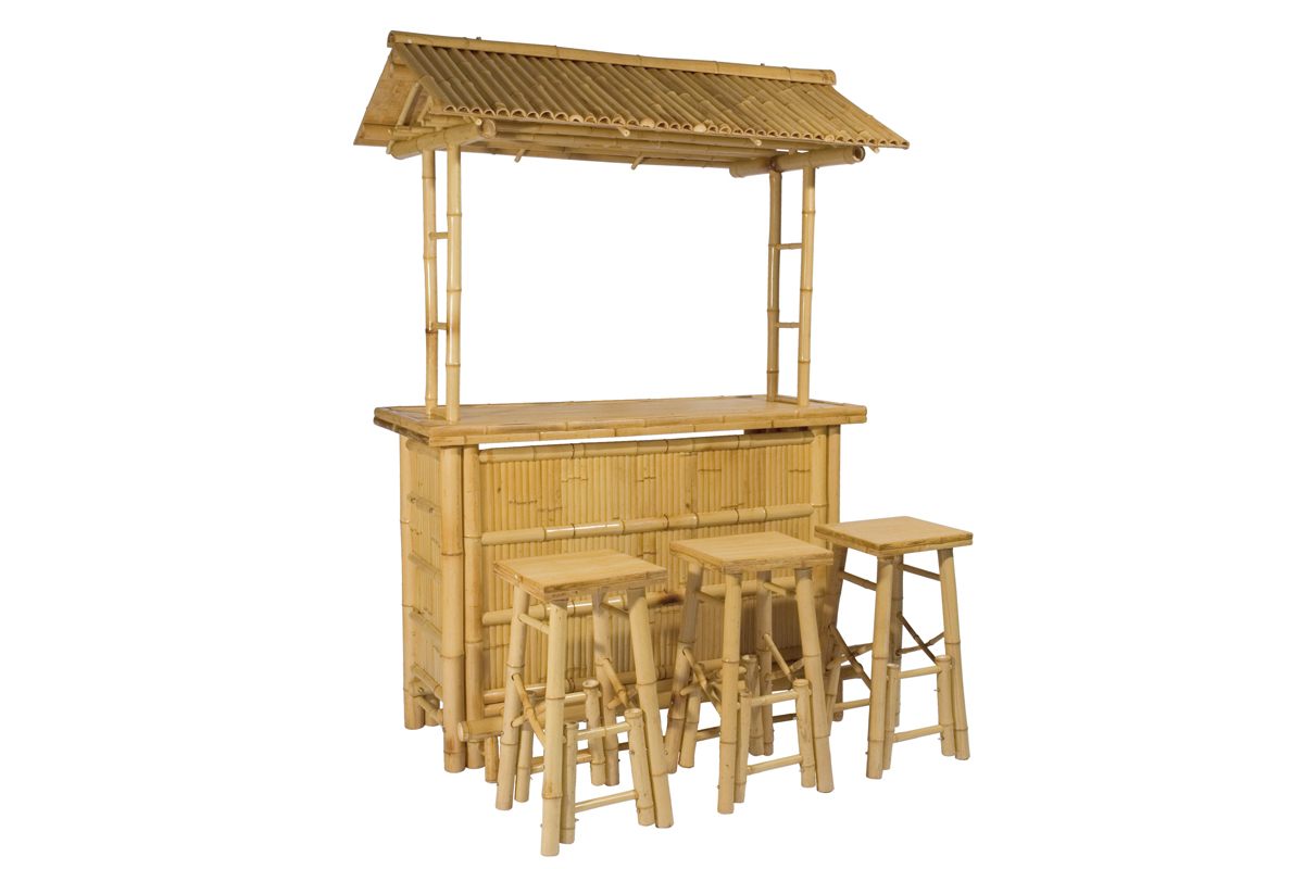 4tlg bar rivas bambus theke tresen barhocker outdoor for Barhocker outdoor