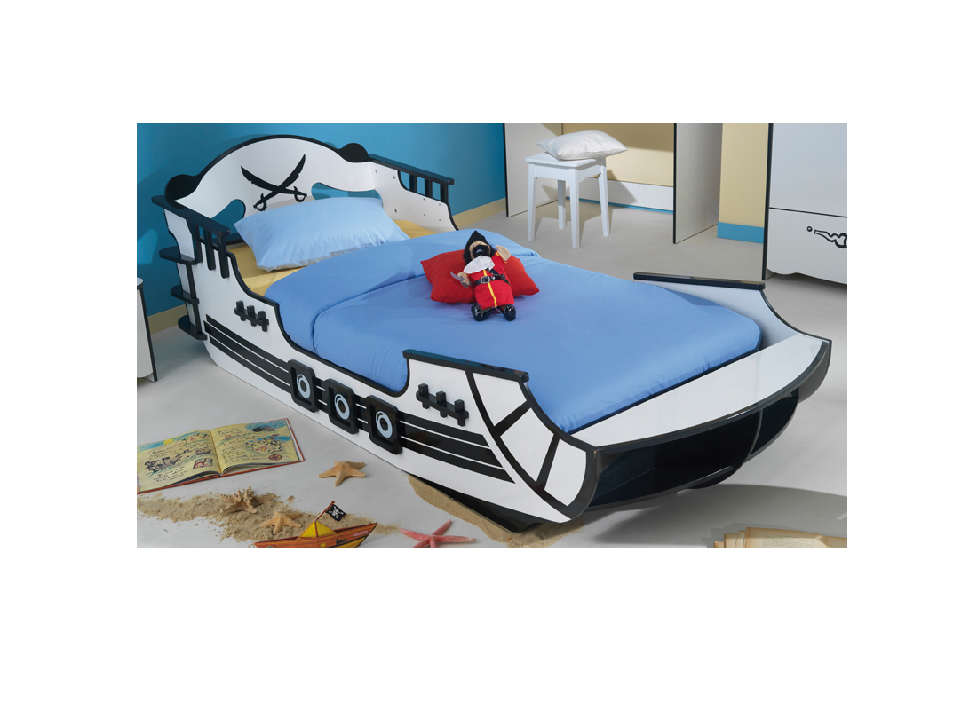piratenbett wei kinderbett spielbett bett kinder piraten. Black Bedroom Furniture Sets. Home Design Ideas