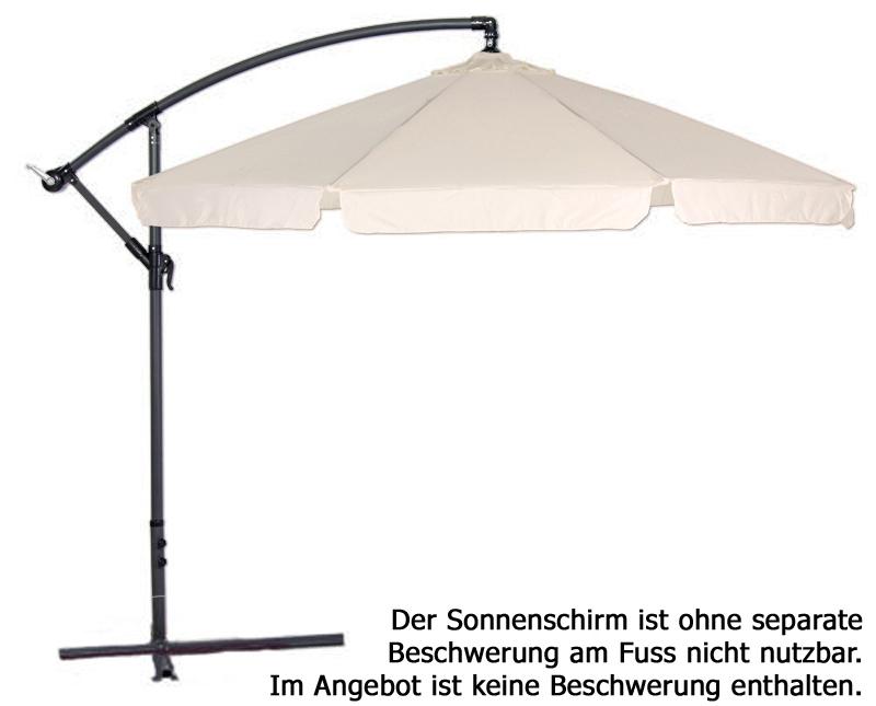 ampelschirm 3 5m schirm sonnenschirm ca 350cm gartenschirm volant kurbel neu ebay. Black Bedroom Furniture Sets. Home Design Ideas