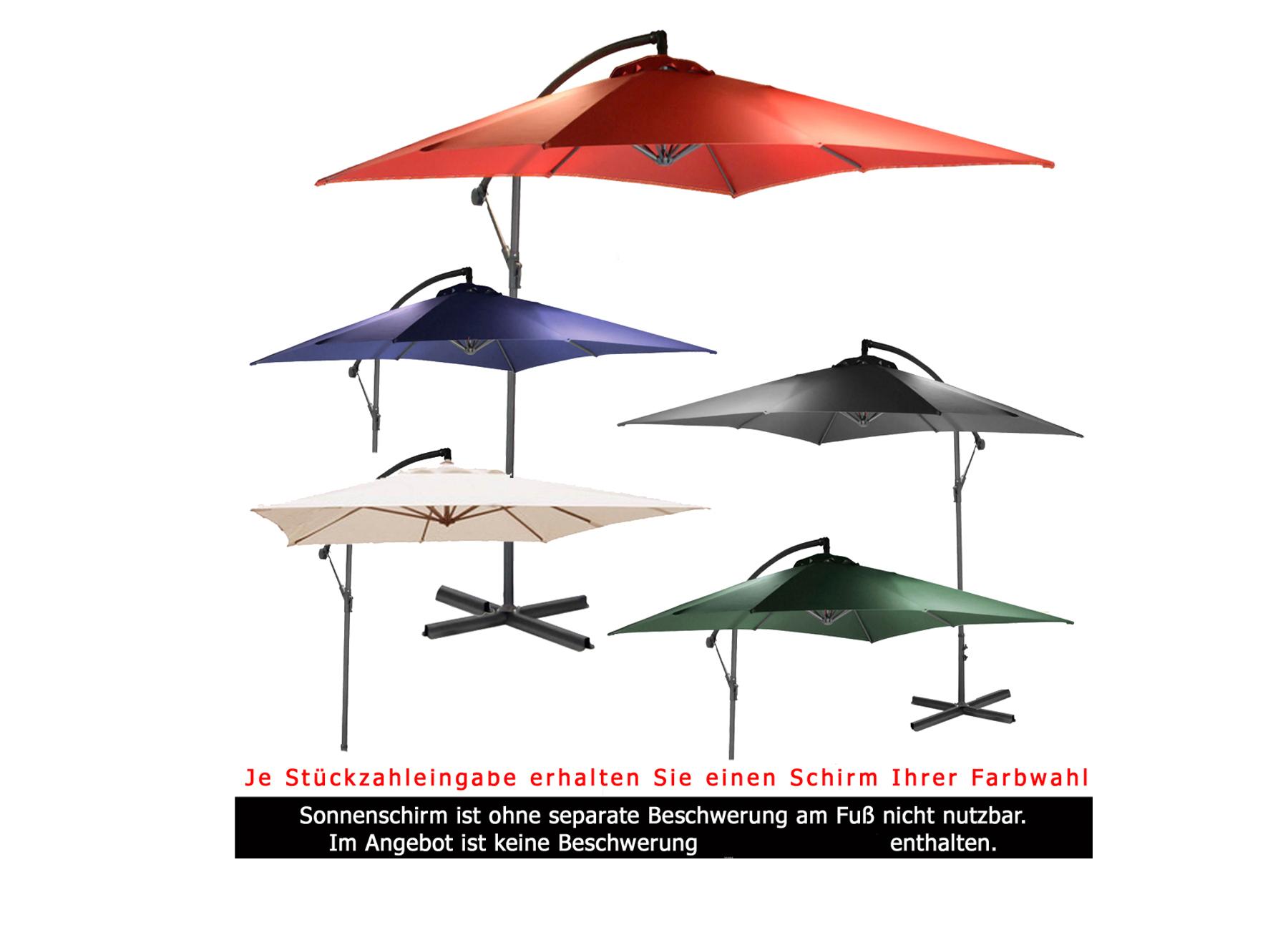 2 5m ampelschirm eckig sonnenschirm kurbelschirm schirm gartenschirm ca 250cm ebay. Black Bedroom Furniture Sets. Home Design Ideas