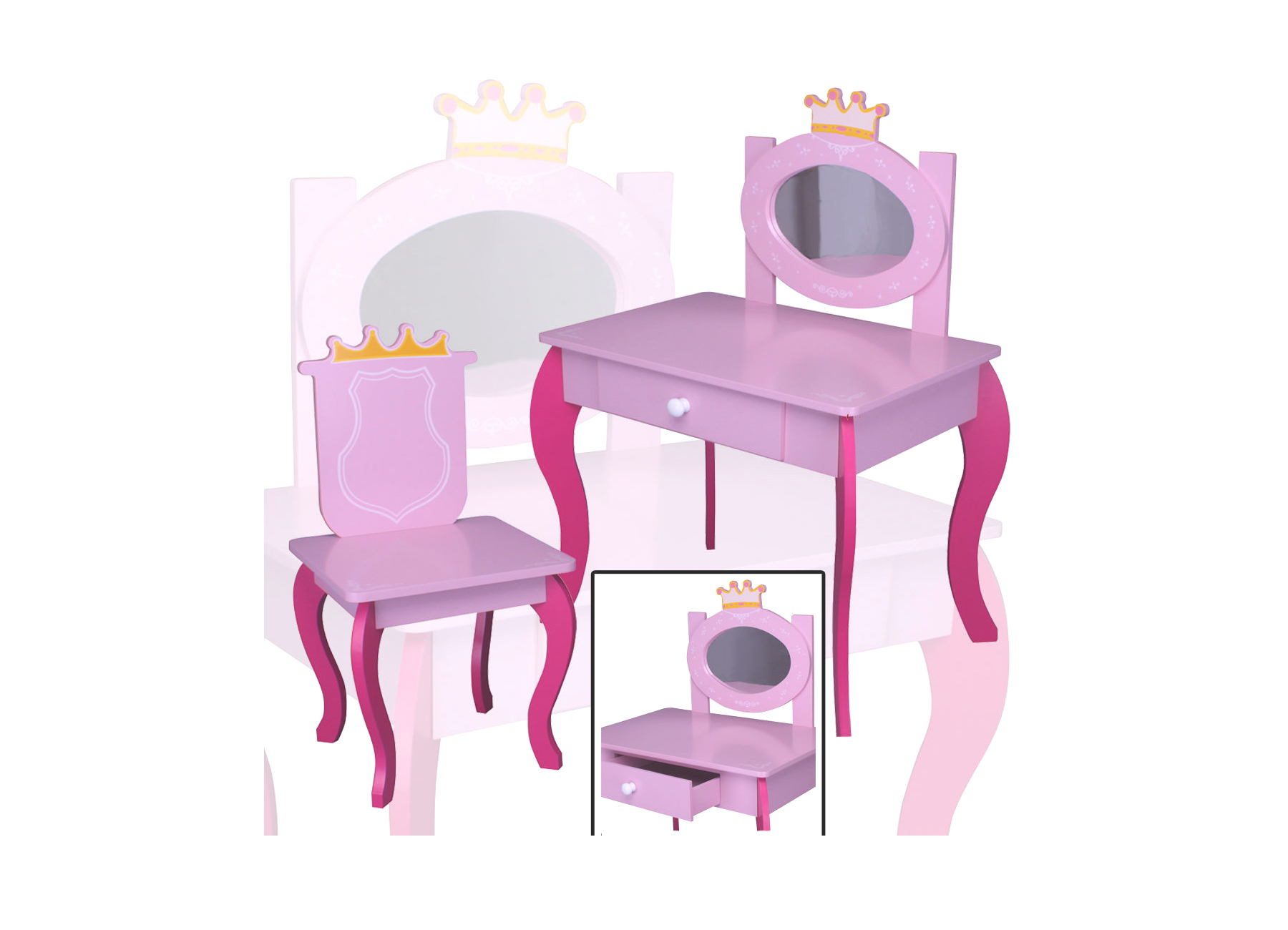 kinder schminktisch 120 pink rosa spiegel frisiertisch. Black Bedroom Furniture Sets. Home Design Ideas