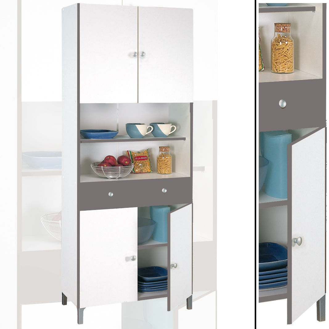 Hochschrank 540 Weiß Basalt Küchenschrank Küchenregal