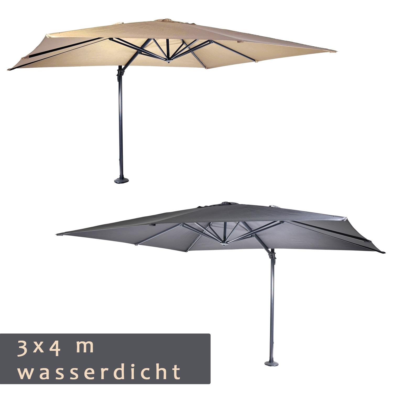 wasserdichter luxus ampelschirm 3 x 4 m sonnenschirm 360. Black Bedroom Furniture Sets. Home Design Ideas